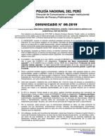 COMUNICADO PNP N° 08 - 2019