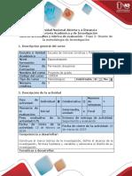 Guía de Actividades y Rúbrica de Evaluación – Paso 2- Diseño de La Metodología de Investigación