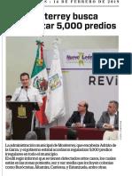 14-02-19 Monterrey busca regularizar 5,000 predios