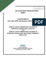 AWR 1(E) and BEGA-102, 2018-19