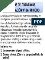 TEMAS DE INVESTIGACIÓN 9°- 1er PERIODO 2019