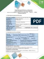 Guía de Actividades y Rúbrica de Evaluación - Tarea 1 - Calculos Basicos