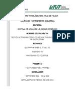 Gestión de Trabajos de Reingeniería de Tablero de Control en Pb San Faustino