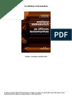 Svetlana Aleksievitch as Ultimas Testemunhas PDF Mobi Epub 0