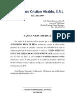 Cartas de Saldo Original, Inversiones Cristian Hiraldo, Milagro Brea 218 Diciembre