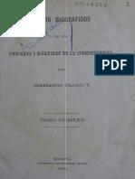 Rasgos biográficos de los próceres i mártires de la independencia