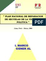 PLAN NACIONAL DE REPARACION DE SECUELAS DE LA VIOLENCIA POLITICA
