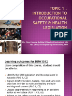 Topic 1 DUW1012 - Intro to OSH Legislation