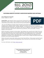 California Narcotic Officers' Association Endorses Meg Whitman