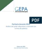 Paritaria Docente 2019. Análisis Del Poder Adquisitivo y Contraste Con La Línea de Pobreza CEPA