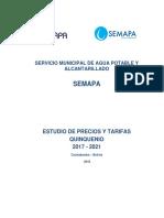 Estudio de Precios y Tarifas SEMAPA 2017 - 2021