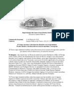 Departamento del Tesoro de EEUU sanciona a funcionarios alineados con el expresidente Nicolás Maduro e involucrados en actos de represión y corrupción