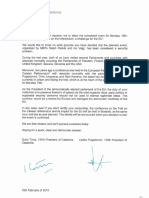 Carta de Torra y Puigdemont al presidente del Parlamento europeo, Antonio Tajani.