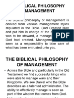 Lesson 8- Biblical Philosophy to Management