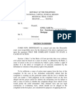 Motion to Dismiss Foreclosure of Real Estate Mortgage Draft