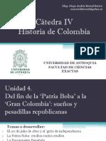Unidad 4 De la 'Patria Boba' a la 'Gran Colombia' (Avances) - Cátedra IV UdeA