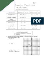 Transforming Functions Worksheet
