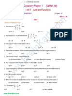 11th Business Maths - Unit 1 Model Question Paper - TamilNadu TN State Board English Medium - Brainkart.com