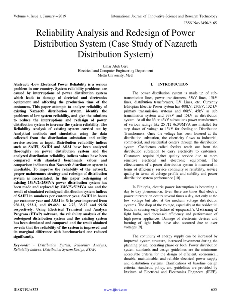 Reliability Analysis and Redesign of Power Distribution System (Case