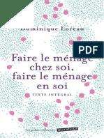 Faire Le Menage Chez Soi, Faire Le Menage en Soi - Loreau,Dominique