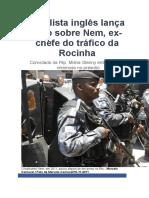 Jornalista Inglês Lança Livro Sobre Nem
