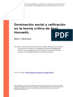 Abril, Francisco (2013). Dominacion Social y Reificacion en La Teoria Critica de Axel Honneth