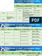 Calendar of Activities SSG