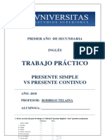 Tp - 1ro Secundaria a - Presente Simple vs Presente Continuo
