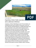 Argentina y Reino Unido acuerdan servicio aéreo adicional a Malvinas
