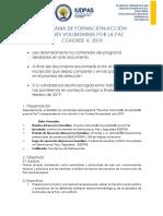 Resumen Proceso Jovenes Voluntarios y Voluntarias Por La Paz Cohorte v 2019 2