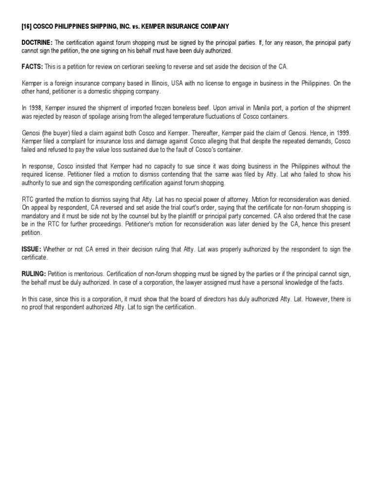 16] Cosco Philippines Shipping, Inc  vs  Kemper Insurance Company