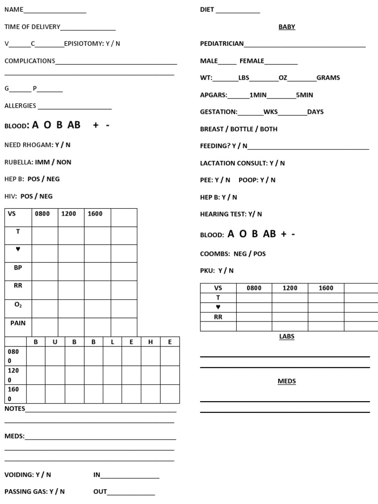 postpartum report sheet