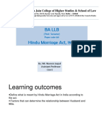 Family Law - Unit - 1 (Hindu Marriage Act)