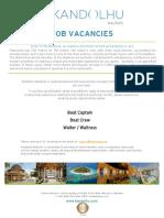 Kandolhu Maldives - Job Vacancies 02172019
