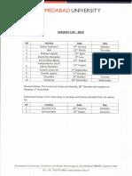 AU 2019 - Holiday List