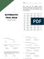 Mathematics Final Exam