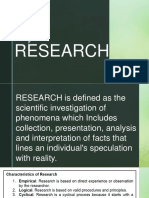 Characteristics and Ethics of Research