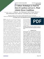 In vitro Tissue Culture Technique as Tool for micro propagation of Lepidium sativum L. Plant under Abiotic Stress Conditions