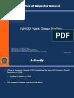 WMATA Inspector General briefing to Maryland Legislature Public Transit Caucus - February 15 2019
