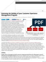 Assessing the Validity of your Customer Experience Management Program |