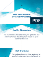 Basic Principles for Effective Supervision