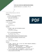 Propiedades de Las leyes de Composición Interna matemática