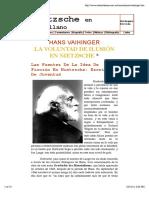 Hans Vaihinger - La Voluntad de ilusión en Nietzsche