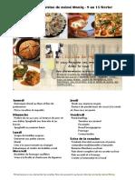 Menu de La Cuisine de Meme Moniq 9 Au 15 Fevrier
