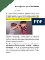 Colegios Deben Responder Por El Cuidado de Los Alumnos.