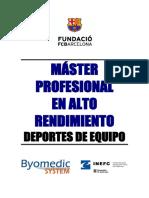 Master Profesional de Alto Rendimiento - Deportes de Equipo