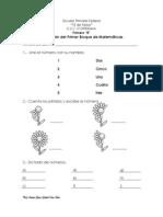Evaluación primer grado BI Matemáticas
