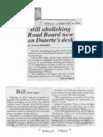 Philippine Star, Feb. 18, 2019, Bill abolishing Road Board now on Duterte's desk.pdf