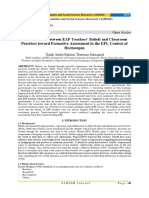 The Mismatch between EAP Teachers' Beliefs and Classroom Practices toward Formative Assessment in the EFL Context of Hormozgan