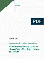 Rapport Om Skatteministeriets Forvaltning Af de Offentlige Restancer 14-...